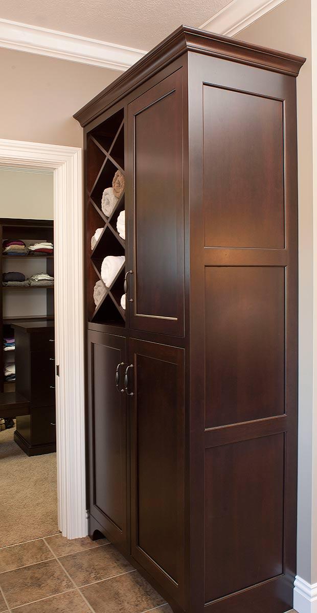 Bath Towel Cabinet - Bathroom Towel Cabinets. Chamberlain Oak Finish Linen Tower