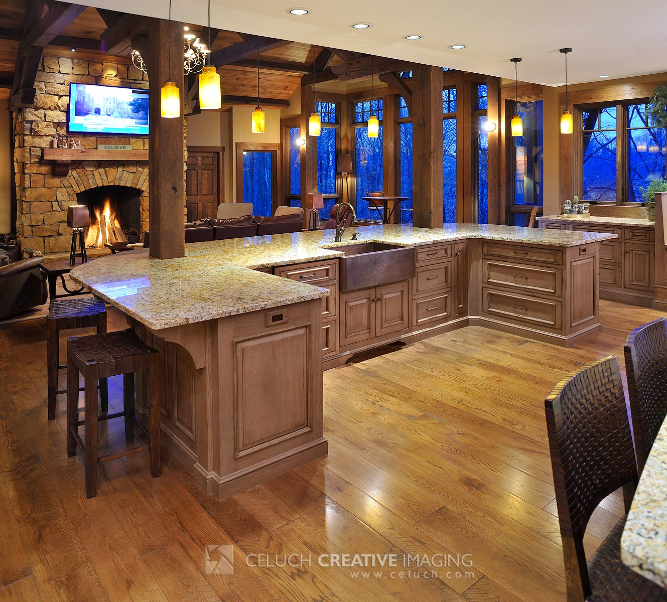 Great Room Kitchen With Large Island: Rustic Hideout In The Woods