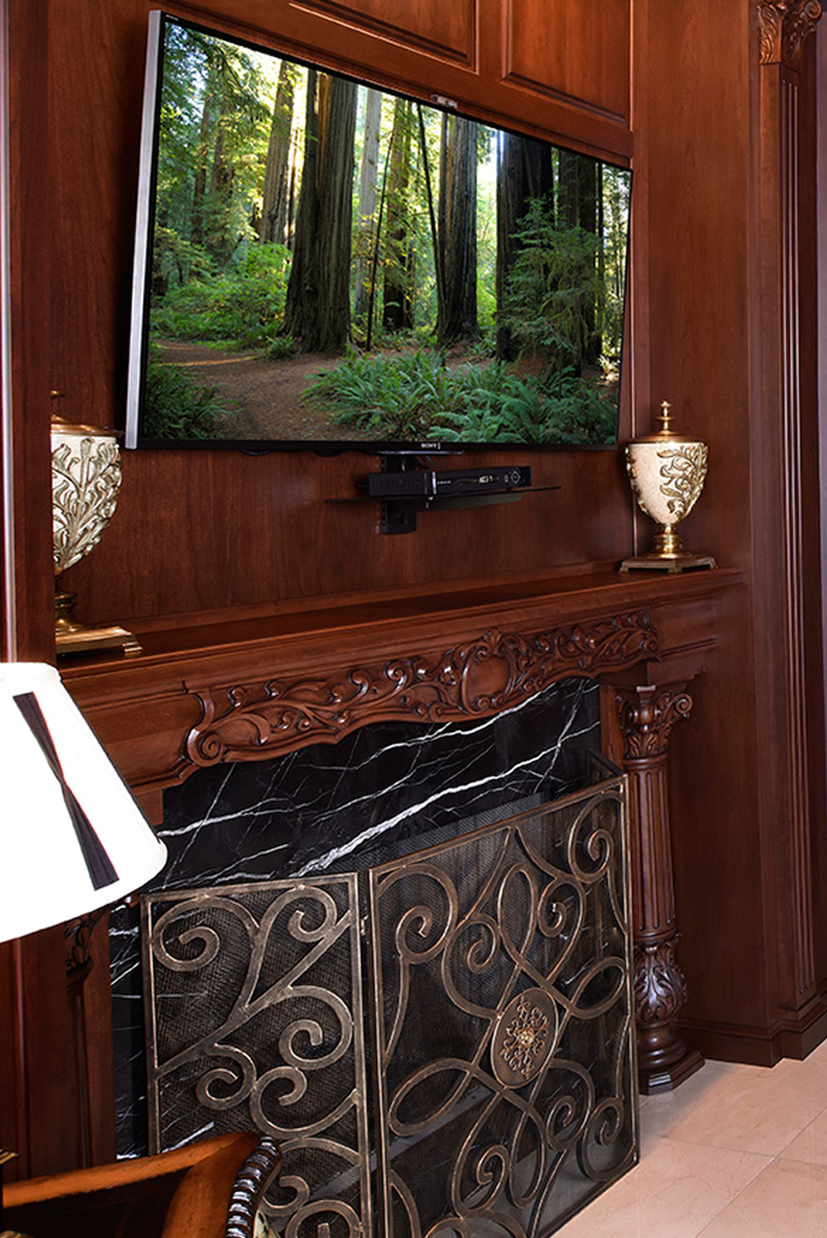 mullet cabinet u2014 library den with cherry cabinetry
