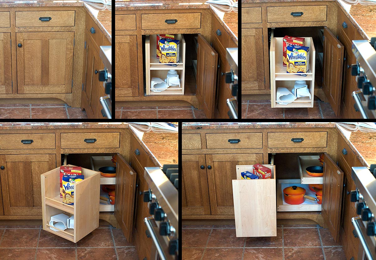 Mullet cabinet craftsman style kitchen for Blind corner systems for kitchen cabinets