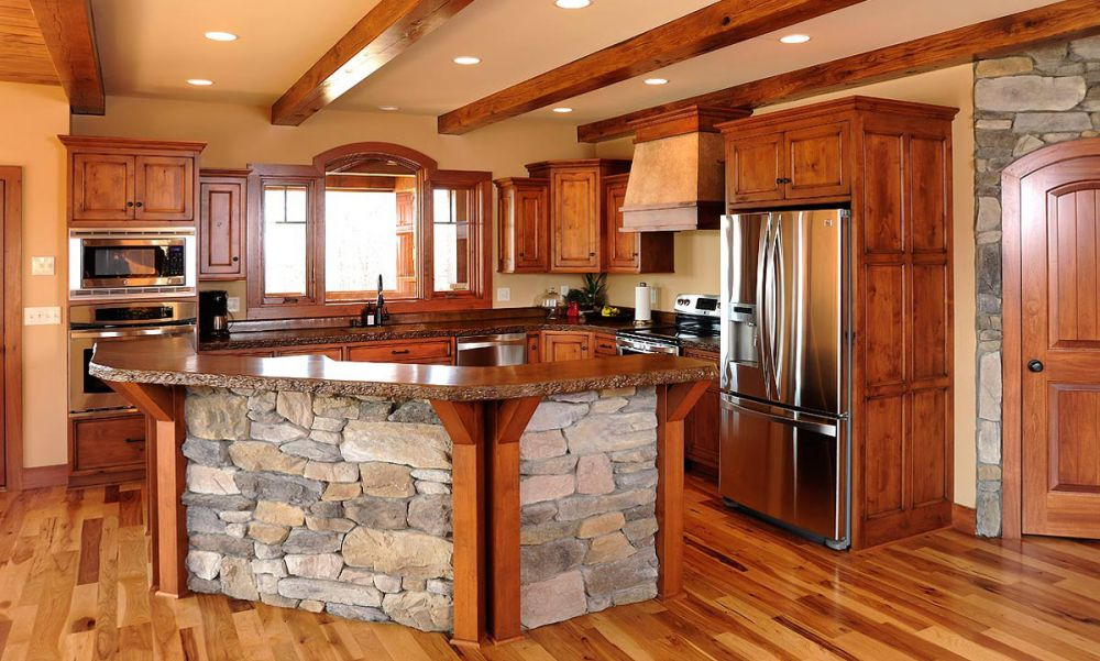 A Large Country Kitchen With Knotty Alder Cabinets Cabinets Have The Look Of photo - 6