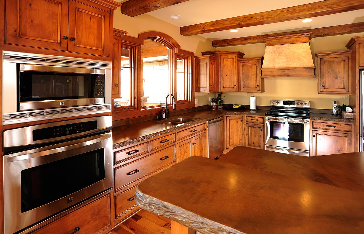 Mullet cabinet rustic kitchen cabinets in timber frame home for House kitchen cabinets