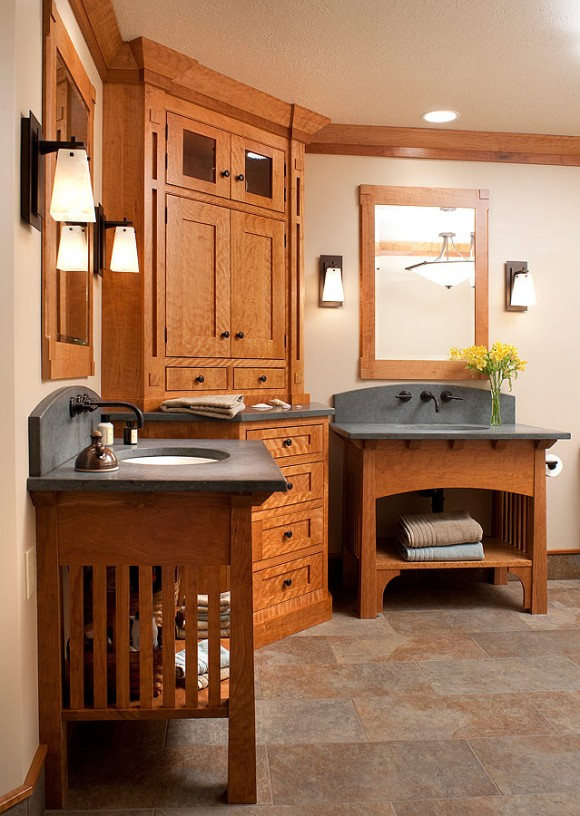 Craftsman style bathroom vanities