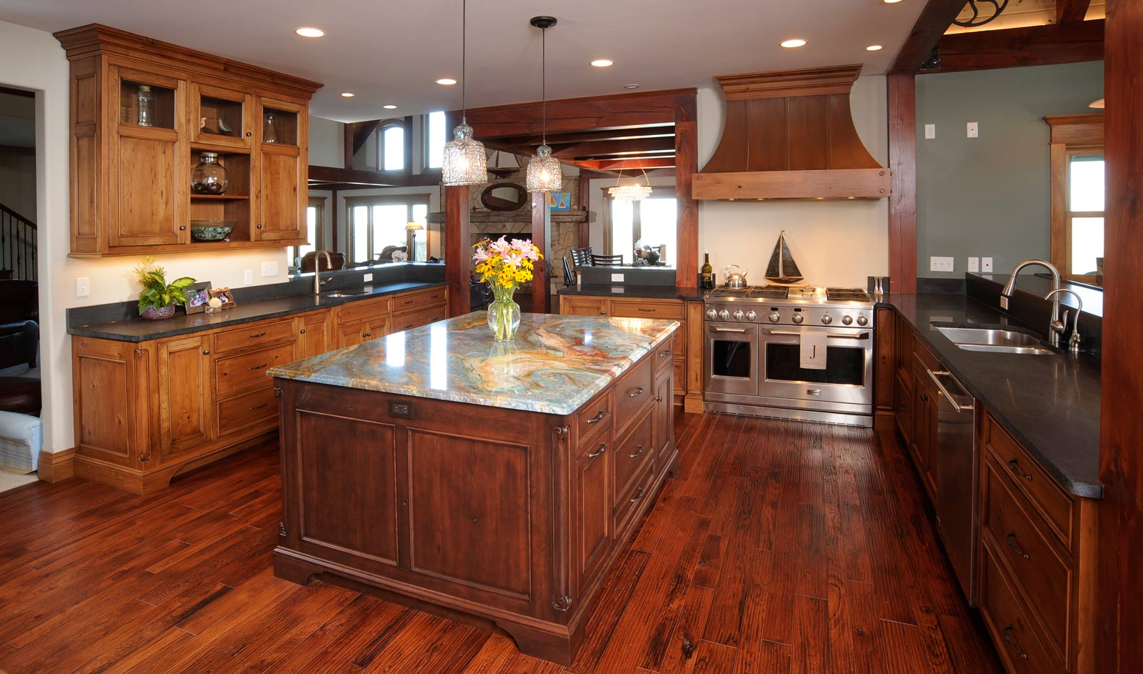 Wood Kitchen Floors Cherry Cabinets