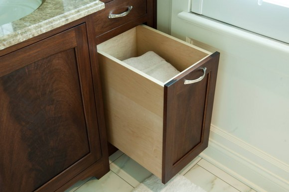 Mullet Cabinet Mahogany Feature In White Master Bath