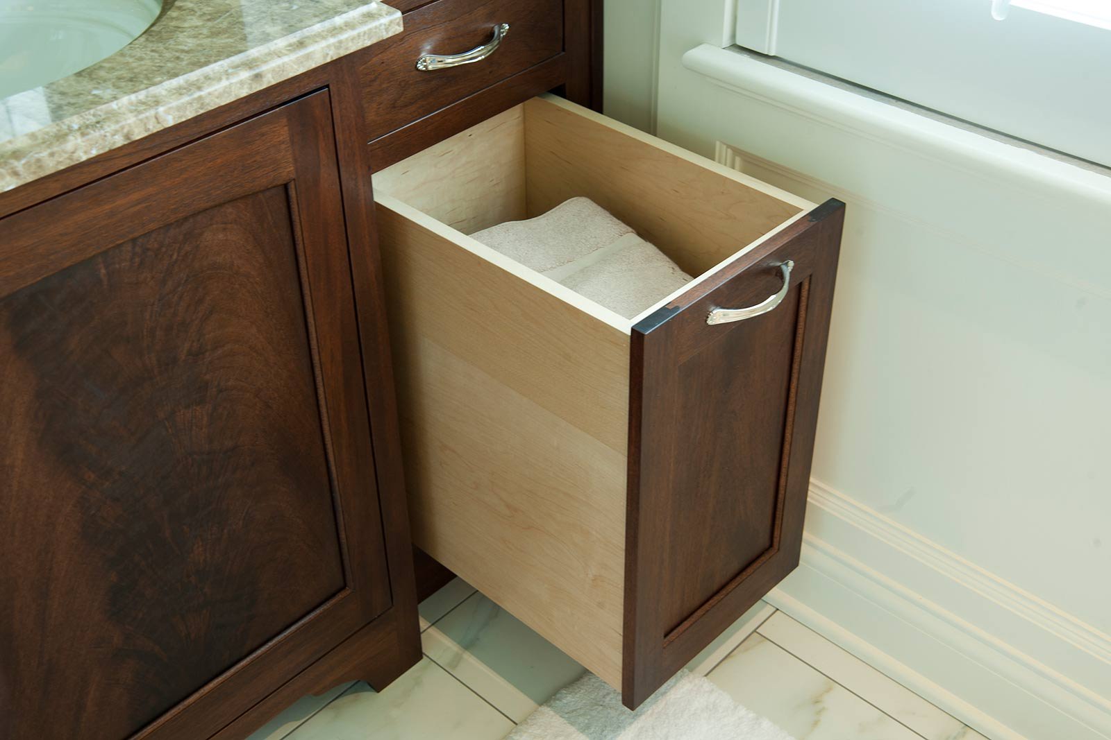 Bathroom storage with hamper with creative example for Bathroom vanity with built in hamper