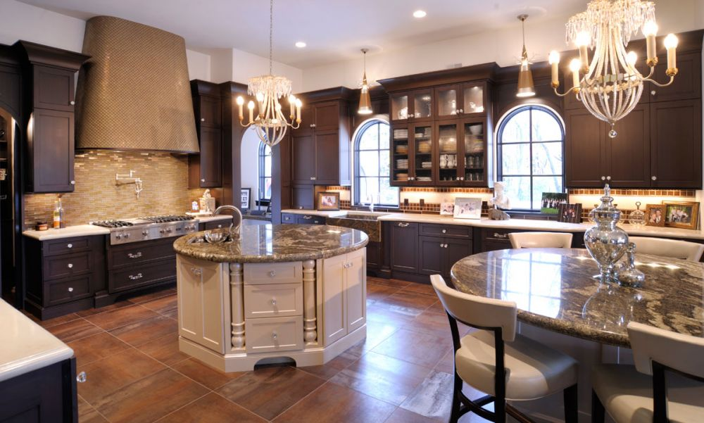 Mullet cabinet elegant kitchen with dual round islands Modern elegant kitchen design
