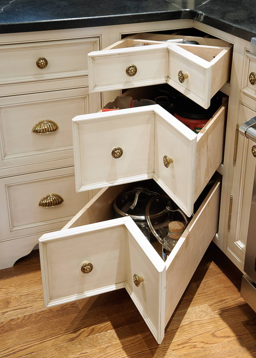 Levant nantucket glazed kitchen with curly cherry island for Kitchen cabinet drawers