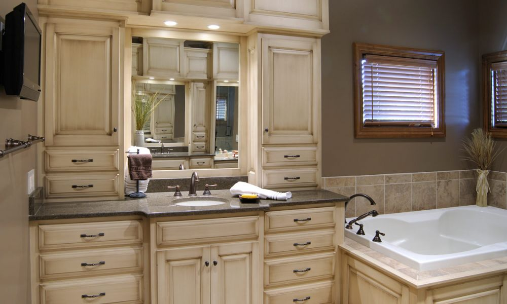 Levant custom master bathroom suite for Master bathroom cabinets