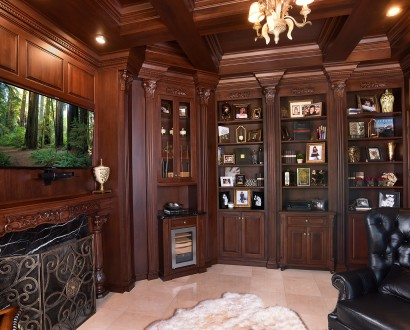 Library/Den With Cherry Cabinetry