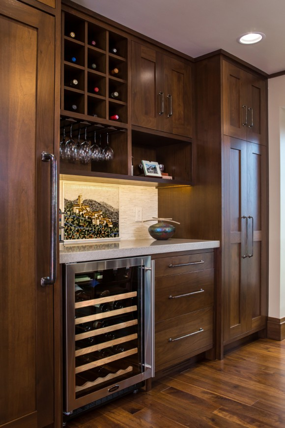 Countryside Transitional Kitchen With a Southwestern Flair-WineCooler and Rack