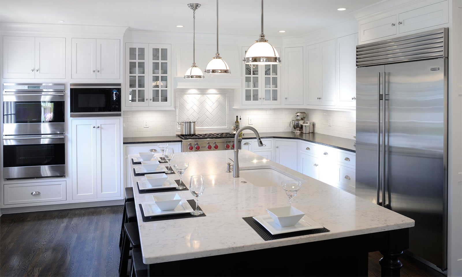 Dark Kitchen Floors White Transitional Cabinets With Black Counters