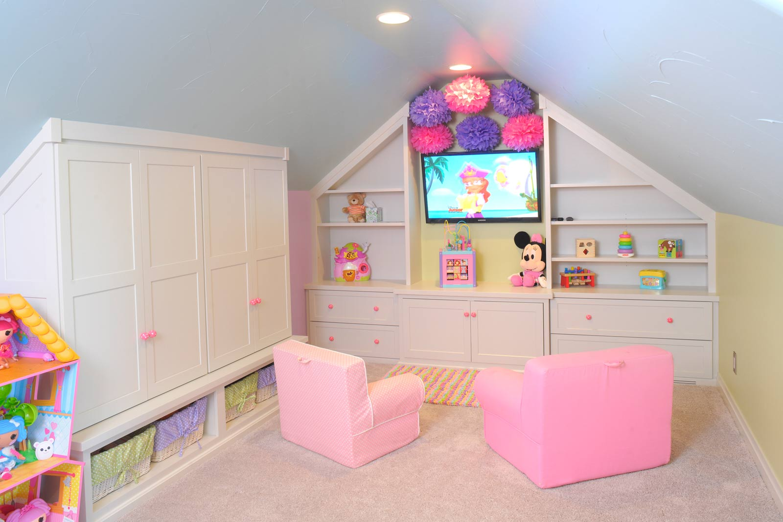 Mullet cabinet colorful playroom Cute kid room ideas