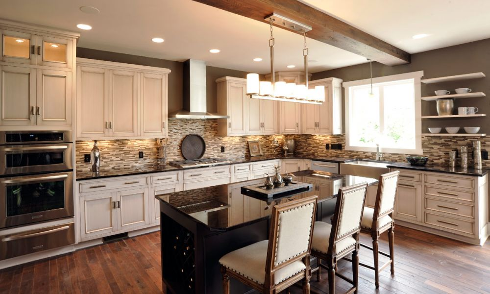 dark kitchen cabinets with light island mullet cabinet alluring color palette kitchen 9539