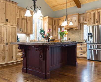 A Rustic Hickory Kitchen With Live Edge Island