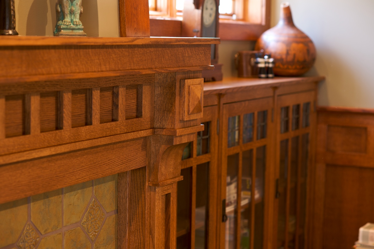 Mullet Cabinet Craftsman Mantel And Library Shelves