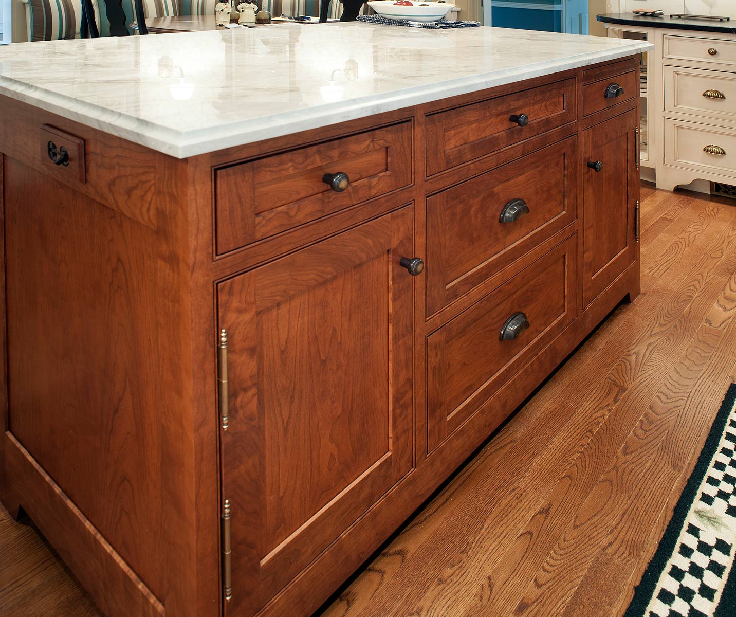 Mullet Cabinet — Nantucket Glazed Kitchen with Curly Cherry Island
