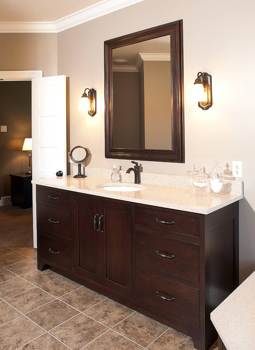 Mullet cabinet custom designed bath for Dark wood bathroom designs